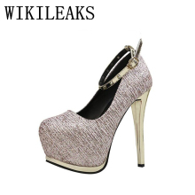 golden silver mary jane shoes woman luxury brand red extreme high heels women wedding shoes sequined platform shoes ladies pumps(China)
