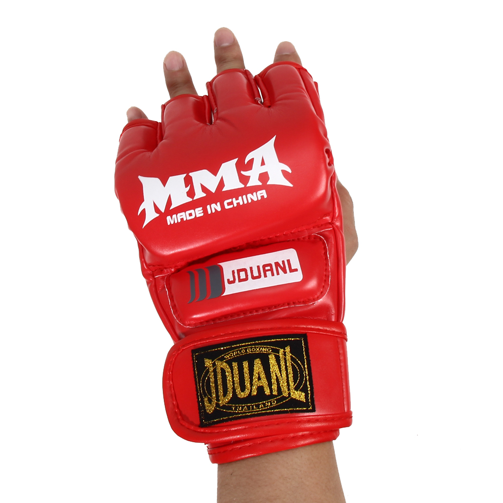 Boxing Gloves MMA Gloves Muay Thai Training Gloves MMA Boxer Fight Boxing Equipment Half Mitts PU Leather Black/Red 17