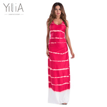 Yilia New Cheap Gradient Print Maxi Long Dresses Red Stripe Print Tank Dress Sleeveless Beach Loose Casual Summer Floor Length