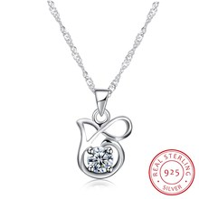 18inch Fine Jewelry Necklaces & Pendants 925 Sterling Silver Classic Lovely Collar Women Child Ribbon Jewels Party Gift N0057