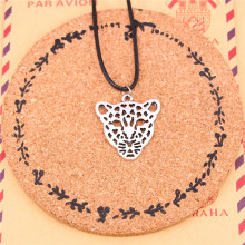 New Fashion hollow leopard head Necklace Tibetan Silver Pendant Choker Black Leather Cord Factory Price Handmade Jewlery(China)