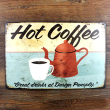 Vintage metal painting HOT COFFEE Poster crafts retro cafe bar tin sign antique plaque iron plate wall sticker art decor 20x30CM(China)