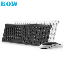 B.O.W Slim Metal Multimedia Optical Wireless Keyboard and Moue (Silent Design) 2-in-1 Combos for Laptops Desktops PC Computer(China)