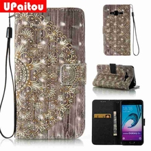 UPaitou 3D Relief Floral Painted Coque For Samsung Galaxy J3 Leather Wallet Silicone Flip Case For Samsung J3 2016 J320F Cover(China)
