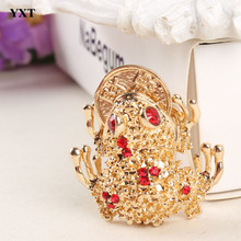 Toad Frog Plutus Coins Lovely Cute Crystal Charm Pendant Purse Handbag Car Key Ring Keychain Party Wedding Birthday Gift(China)