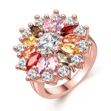 INALIS Unique Fashion Multicolor Flower Engagement Rings  Rose Gold colour AAA Zircon Fashion Jewelry Anillos