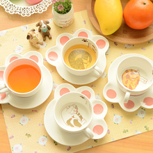 Cute Cat Mugs Cup Set Creative Cartoon Milk Tea Drink Coffee Breakfast Ceramic Cups Plates Animal Cup Heat-resistant Lovely Gift(China)