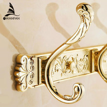 Carving Gold Plate Wall Mount Clothes And Hat Hook 4-8 Row Vintage Elegant Hook Bathroom Accessories Free Shipping HA-26G