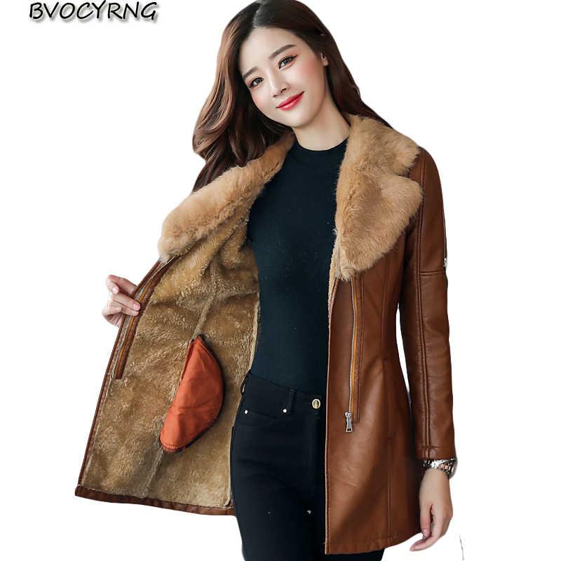 014fc35f8f4 Medium Syle Fur collar Leather Coat thick 2017 New Winter Warm Jacket Women  PU Leather Coat