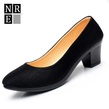 2016 Women's Single Shoes Pumps Comfortable Shoes Ladies Heel Round Head Professional Black high-heeled Shoes Work Shoes