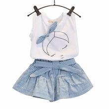 baby girl summer children clothing manufacturers china supply Cute Bow Girl Pattern Shirt Top Grid Shorts Set  Krystal saia