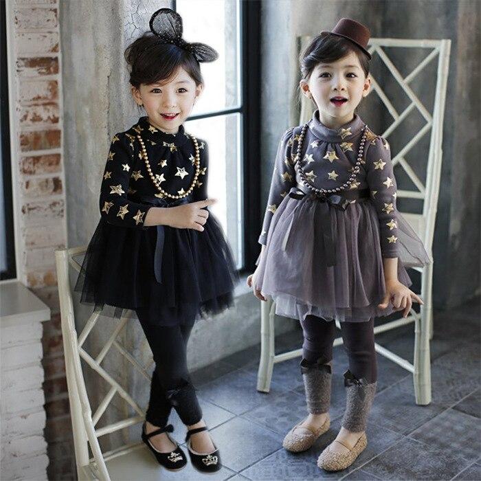 Hot selling Autumn Girls Princess Dress Winter Kids Long Sleeve star printed Buttons turtleneck Dress Girl casual dress 2 colors<br><br>Aliexpress