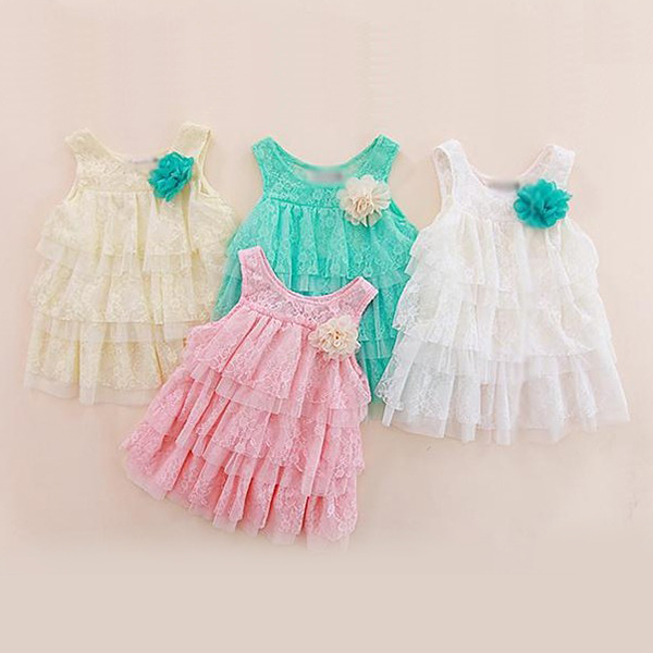 Hot Selling Cute Kids Girls Princess Dresses Big Flower Lace Layers Toddlers Babys Strap Dresses<br><br>Aliexpress