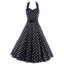 Spring Women Dresses Halter Neck Sleeveless Vintage 1950s Retro Rockabilly  Prom Tea Dress with Belt Black White Polka Dot Dress 11e28697670c