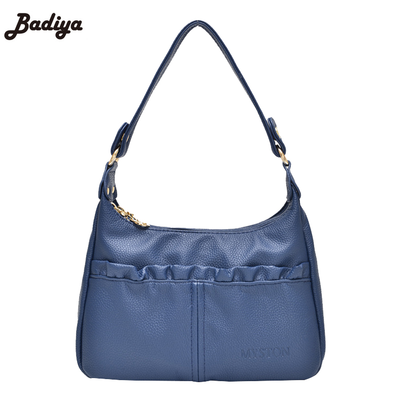 Discount Women's Handbags Leather PU Pleated Strap Shoulder Bag For Mom Gift Vintage Lady Bag Purse Small Flap Bolsos Mujer Bag(China (Mainland))