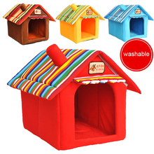 Four Seasons Washable Samll Pet Bed Dog Cat Tent House Kennels For Small Dog Soft Strip Dog Puppy Bed Teddy Indoor House Bed