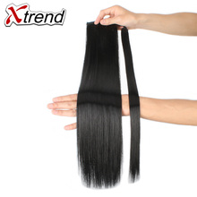 Xtrend 24'' Long Straight Synthetic Clip In Ponytail Hairpieces Natural Black Brown Blonde Hair Extension High Temperature Fiber