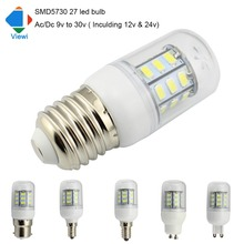 Viewi 10x ampoule led lamp Ac Dc 12 volt E27 E12 E14 G9 GU10 light bulb 12v 24v solar lamps lighting smd5730 epistar chip 27leds