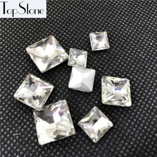 Topstone Princess Square Pointback Fancy Stone Crystal Clear Color 3mm,4mm,6mm,8mm,10mm,12mm,14mm Glass Crystals