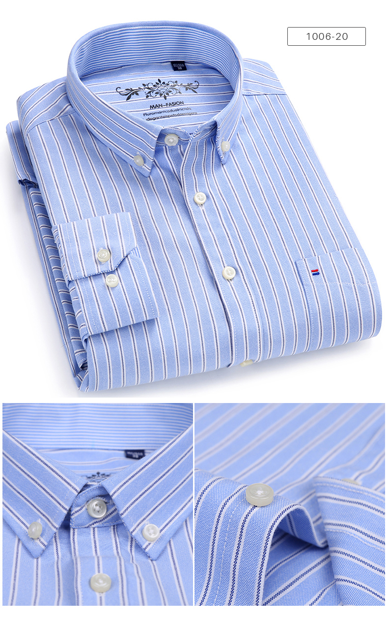 Men's Long Sleeve Contrast Plaid/Striped Oxford Dress Shirt with Left Chest Pocket Male Casual Slim-fit Buttoned Down Shirts 6