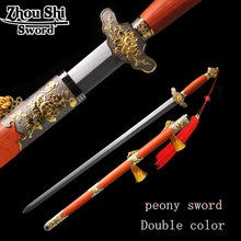 Chinese Peony Sword Forging Damascus Steel blade Sword Collections of Antique Home decoration Craft knife Sharp Sword