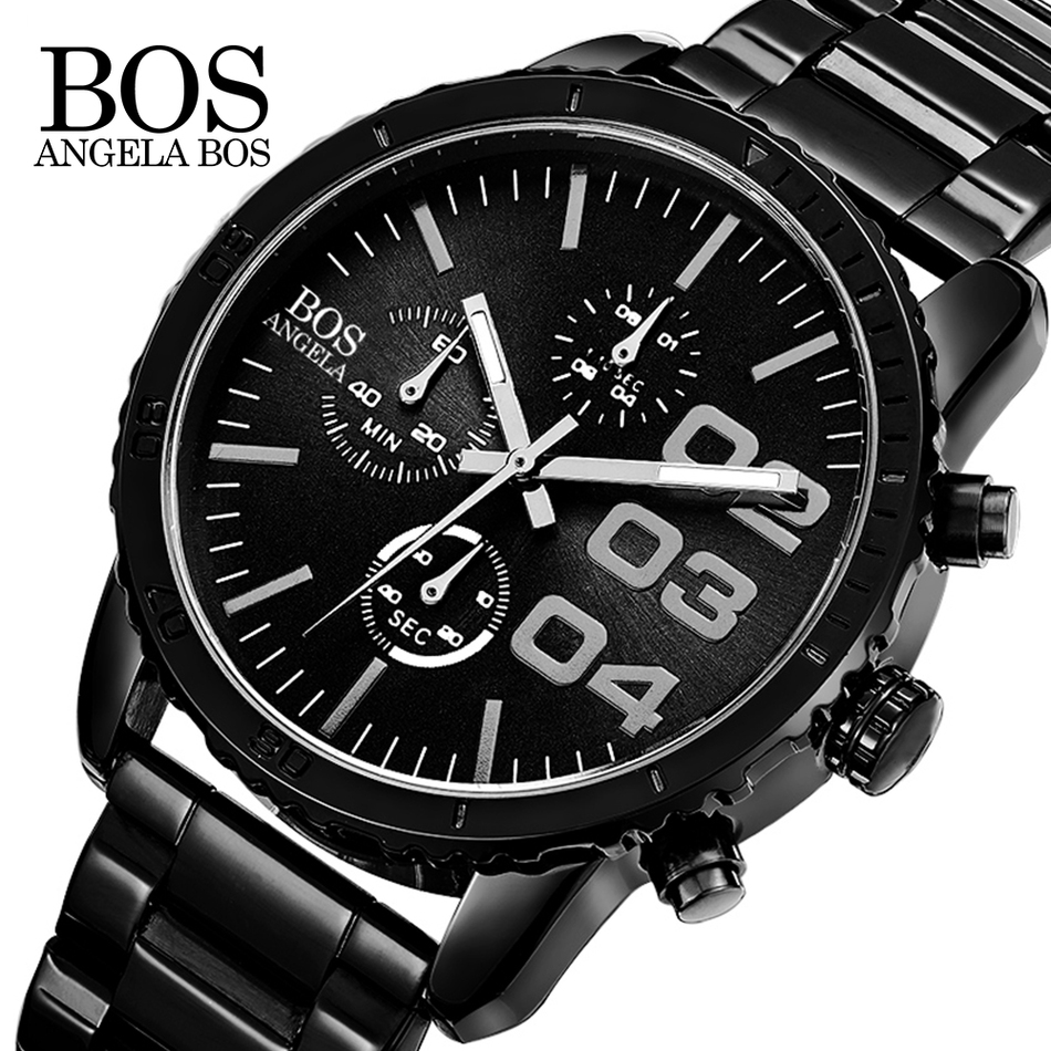2017 luxury brand ANGELA BOS  Luxury Chronograph Stop Quartz Watch Stainless Steel Mens Watches Fashion Business  Men Clock Hot <br>