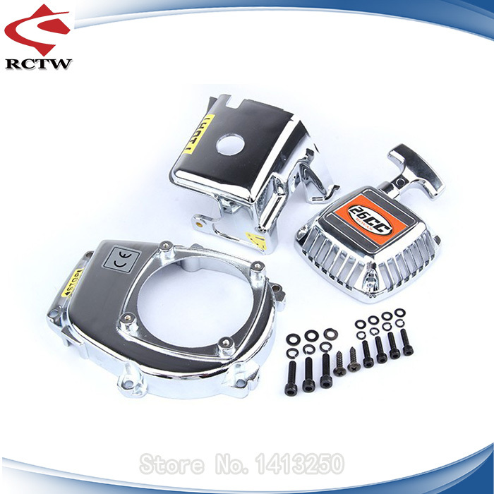 chrome flywheel cover and cylinder cover and pull starter kits for 1/5 hpi baja engines parts <br>