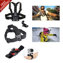 for Gopro Accessories Harness Chest Strap Head Mount Hand Wrist Belt Go pro Kit For GoPro Hero 4/3+/3/2/1 or sjcam SJ4000 sj5000