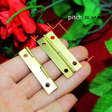 Wholesale Yellow Metal Cabinet Door Luggage Hinge,4 Holes Decor,Furniture Decoration,Antique Vintage Old Style,42*17mm,200Pcs(China)