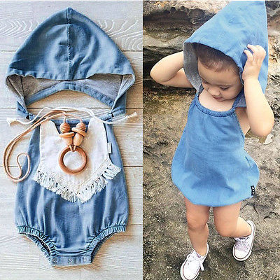 Kids Baby Boy Girls Warm Infant Long Sleeve Bear Romper Jumpsuit Hooded Clothes Outfit Set