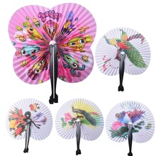 Practical Party Supplies Paper Hand Fan Round Painting Folding Fan Event Wedding Bridal Favors House Decoration Fold Paper Fans(China)