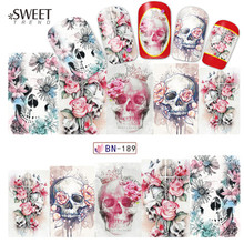 1Sheet Skull/Flower Nail Art Water Transfer Stickers Halloween Style Nail Tips Decals Beauty Full Wraps Manicure Decor LABN189