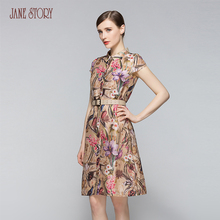 Jane Story lady's flared elegant loose dress with short sleeve silk floral sexy beautiful vintage office dress