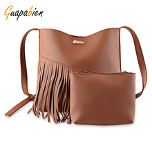 Guapabien Tassel Leather Shoulder Kit Bag With Mini Pouch Big Capacity Women Handbags Ladies Messenger Bag Set carteras mujer