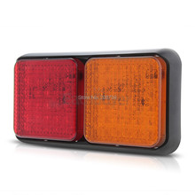 2x Waterproof 72 LED Taillight Red Yellow for Trailer Truck Lorry Stop Light