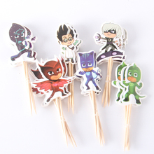 72pcs/lot PJ Mask Banners Theme Party Supplies Cartoon Cupcake Topper Kids Boy Birthday Party Decorations(China)