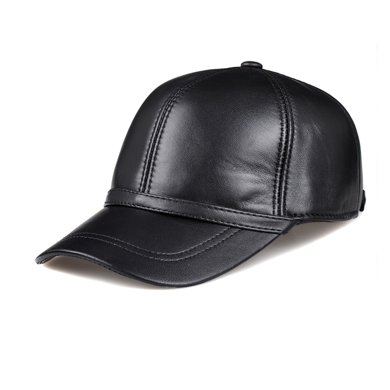 HL091  genuine leather mans baseball cap hat CBD high quality  mens real leather adult solid adjustable hats caps<br>