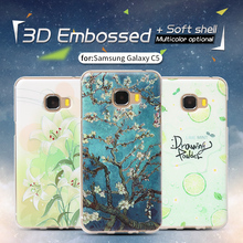 Luxury For SAMSUNG Galaxy C5 C5000 Phone Case TPU Soft Silicone skin Back Cover Case  Painting Flower thin+Protective bag 5.2""