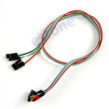 J34 Free Shipping 5pcs/lot New PC Desktop Computer Case ATX Power On Reset Switch Cable With HDD LED Light