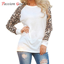 Large Size 3XL 4XL 5XL 2016 Women Basic Oversize T shirt Leopard Print Long Sleeve Cotton Tees Shirts Ladies Tops female t-shirt(China)