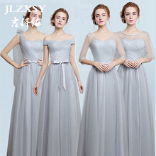 JLZXSY New Silver Gray Wedding Elegant Cheap Long Maxi Dresses for Bridesmaid 2017 Pleated Swing Formal Party Dress 4 Styles