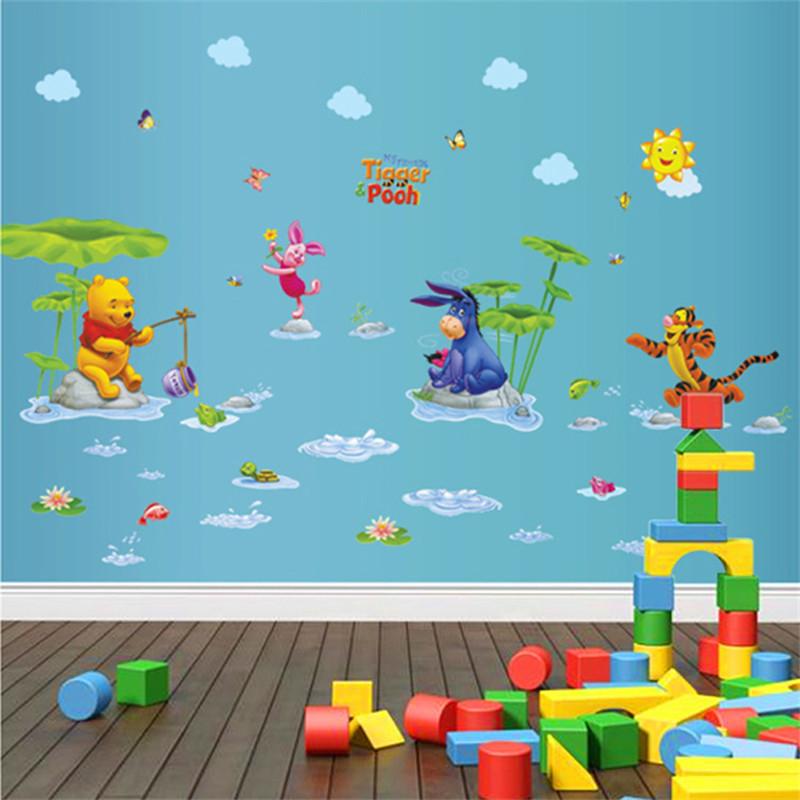 HTB1JnSShRDH8KJjy1zeq6xjepXaH - Baby Bear Cartoon DIY Wall Stickers For Kids Children Room Decaor 3d Window Bear Winnie Pooh Nursery Wall Decals