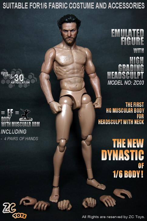 "ZC Toys 12/"" Muscular Man Male Figures Body For 1//6 Scale Toys Head Sculpt"