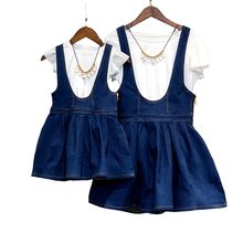 Family Matching Outfits 2017 summer dress Children's Clothing sets girls white t-shirt+Strap denim dress mother daughter dresses