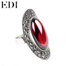 EDI Top Quality Mens Silver Gemstone Rings Antique Rings Women With Blue Corundum Agate Black Chalcedony 13*25mm.