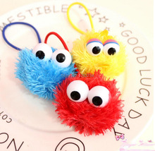 Free Shipping EMS 100/Lot 5CM Sesame Street Elmo Monster Hair Hoop Hair Accessories Hairpin Hair Rope Plush Doll Figure(China)
