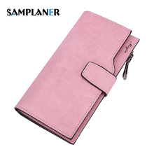 Samplaner Vintage Matte Leather Women Wallet Long Thin Purse Cards Holder Clutch Bag for Girls Money Bag Slim Pink Wallets Woman(China)