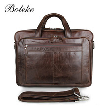 High Quality Famous Brand Men Classic Briefcase Genuine Leather Business Office 17inch Laptop Bag Lawyer Handbag Document 7320