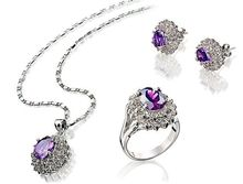Hot sell free shipping ~~ Fashion GP gem Crystal Necklace Pendant Earring Ring Set(China)