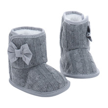 Lovely Winter Warm Baby Shoes Boys First Walkers Knitted Bowknot Baby Boots Girls Toddler Crochet Shoes 0-18M